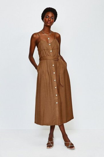 Tan Linen Mix Strappy Dress