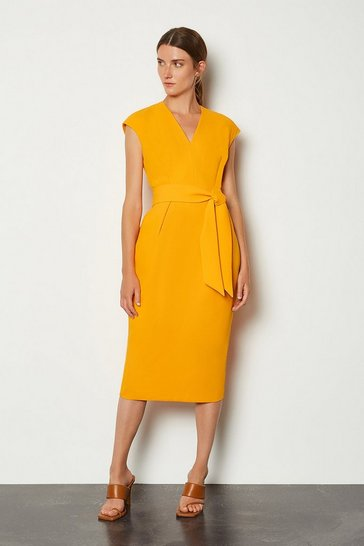 Orange Tie Waist V Neck Sleeveless Dress