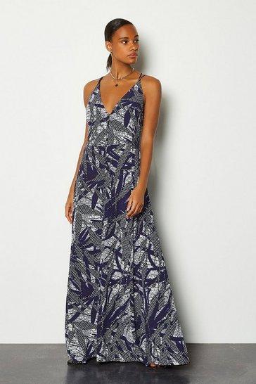 Blue Batik Print Strappy Dress
