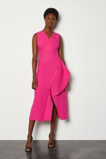 Pink Sleeveless Waterfall Tailored Dress