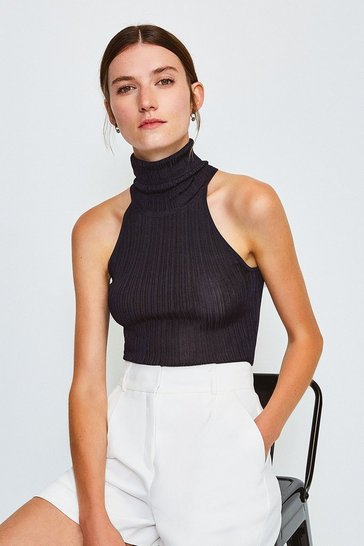 Navy Knitted Rib Roll Neck Sleeveless Top