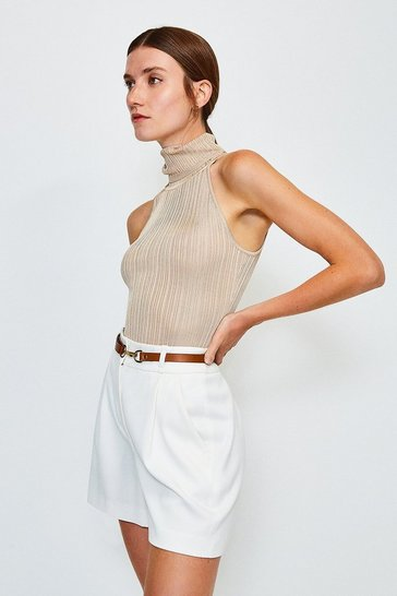 Stone Knitted Rib Roll Neck Sleeveless Top