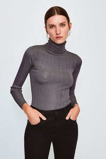 Grey Knitted Rib Roll Neck Top