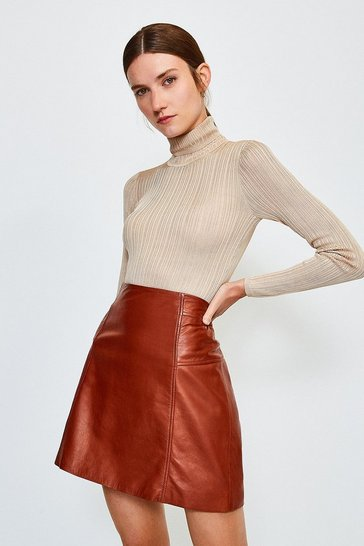 Stone Knitted Rib Roll Neck Top