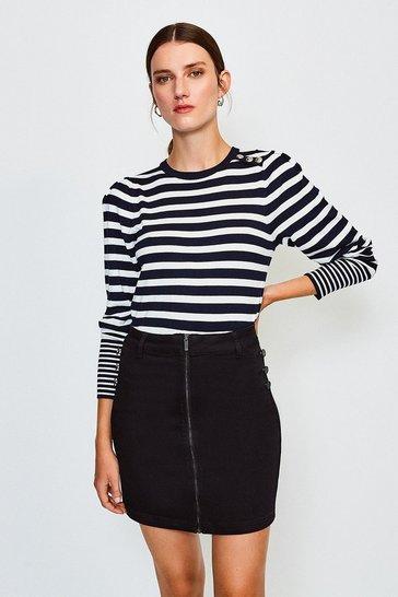 Black Zip Front Button Detail Denim Mini Skirt