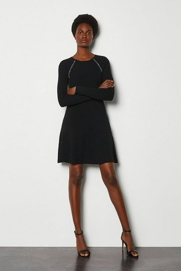 Black Chain Detail Knitted Dress