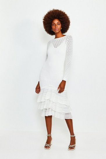 Ivory Long Sleeve Knitted Ruffle Hem Midi Dress