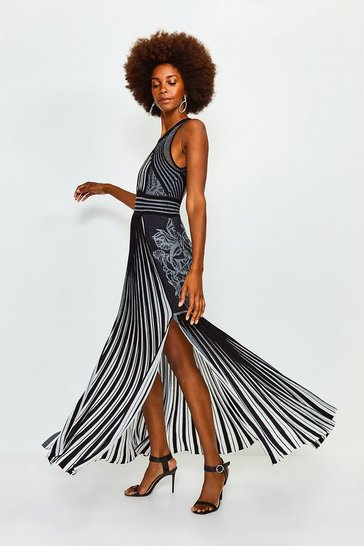 Black Two Tone Knitted Maxi Dress
