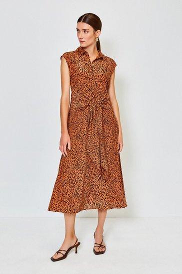 Animal Satin Tie Waist Dress
