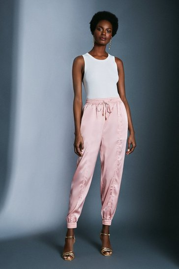 Blush Satin Cuffed Joggers