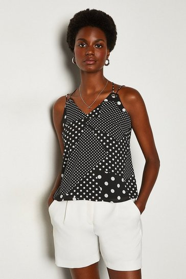 Black Polka Dot Jersey Top