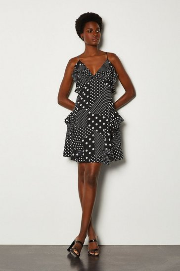 Black Polka Dot Ruffle Short Dress