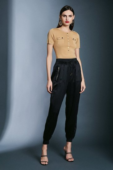 Black Luxe Sandwash Silk Trousers