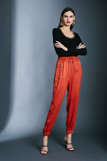 Tan Luxe Sandwash Silk Trousers