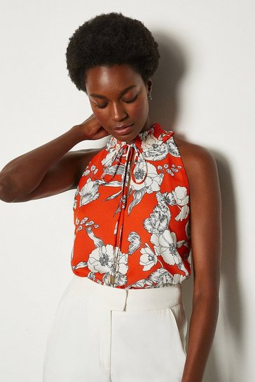 Orange Linear Floral Top