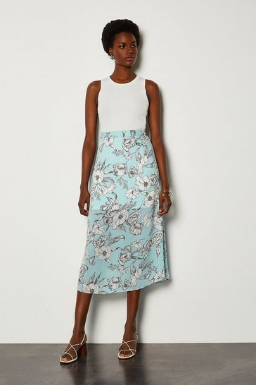Blue Linear Floral Skirt