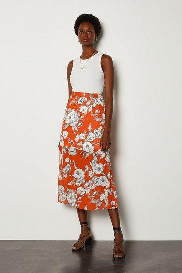 Orange Linear Floral Skirt