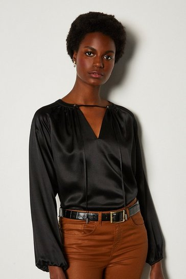 Black Silk Satin Tie Neck Long Sleeve Top