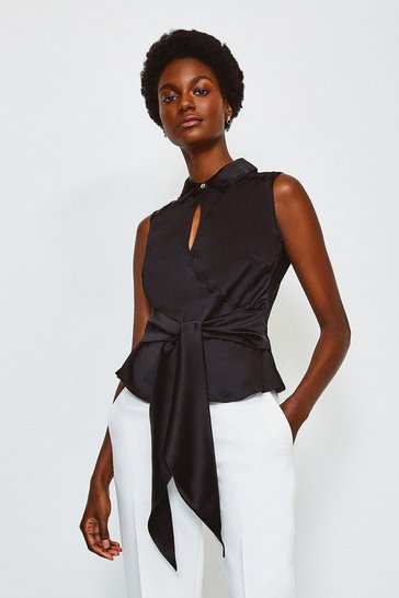 Black Silk Satin Tie Waist Blouse