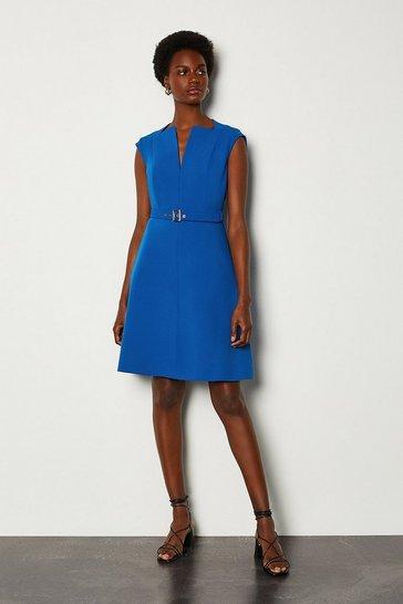 Blue Envelope Neck A Line Dress