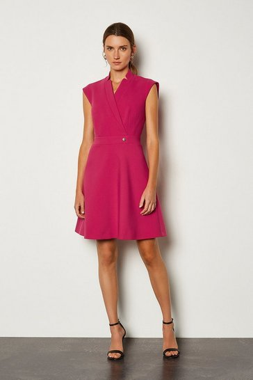 Pink Collar Wrap A Line Dress