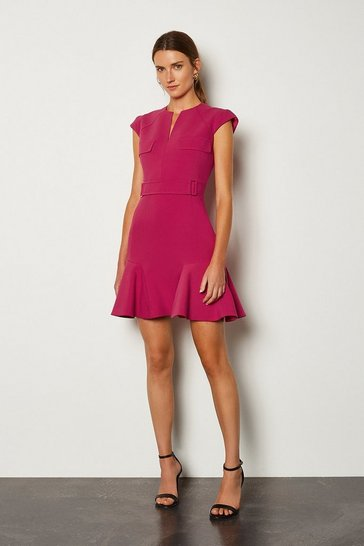 Pink Square D Ring A Line Dress