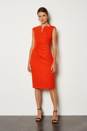 Orange Envelope Neck Pencil Dress