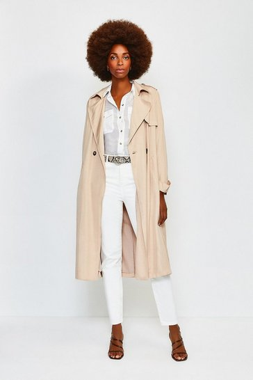 Stone Linen Mix Belted Trench