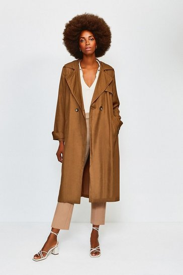 Tan Linen Mix Belted Trench