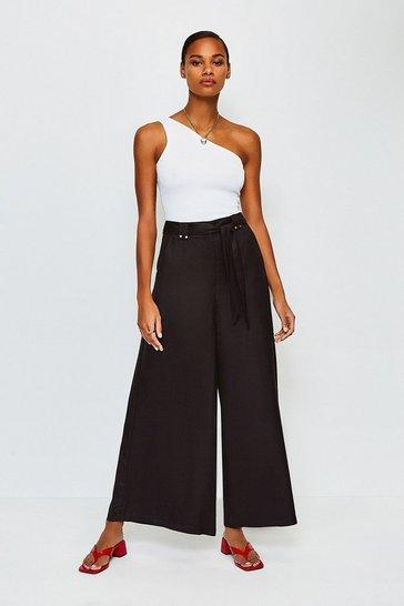 Black Linen Mix Wide Leg Trouser
