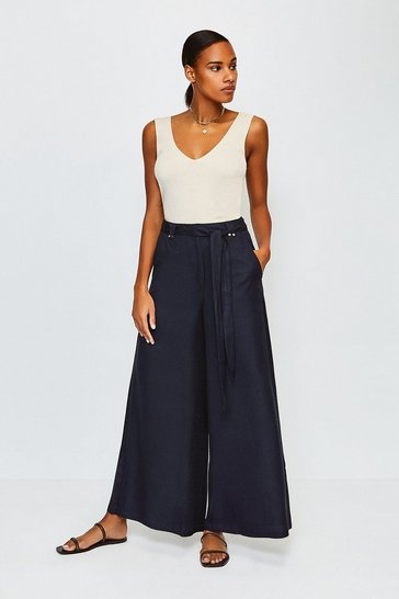 Navy Linen Mix Wide Leg Trouser