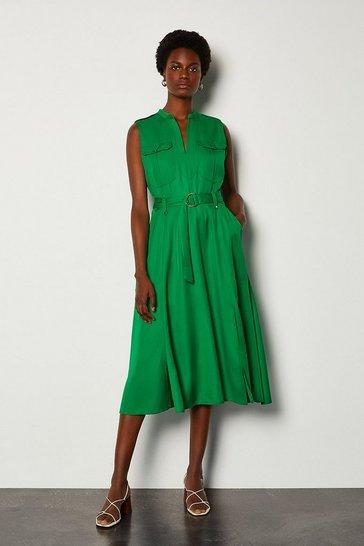 Green Linen Utility Sleeveless Dress