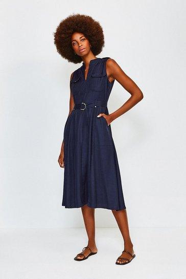 Navy Linen Utility Sleeveless Dress
