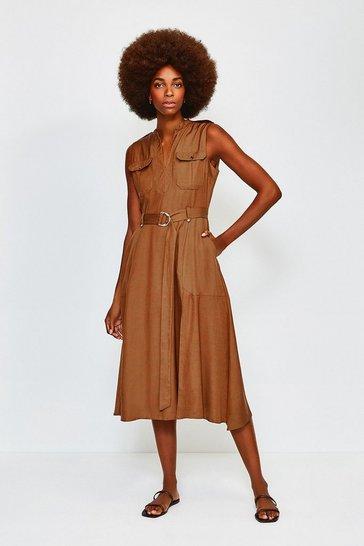 Tan Linen Utility Sleeveless Dress