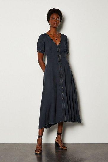 Blue V-Neck Tencel Dress