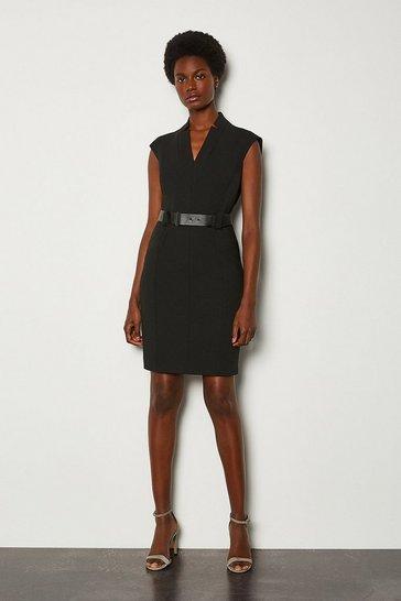 Black Forever Cap Sleeve Short Dress