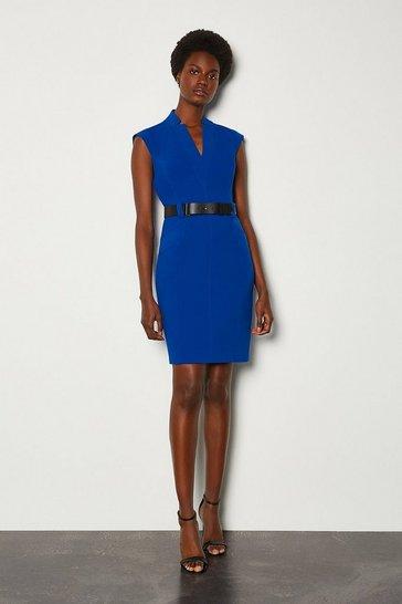 Blue Forever Cap Sleeve Short Dress