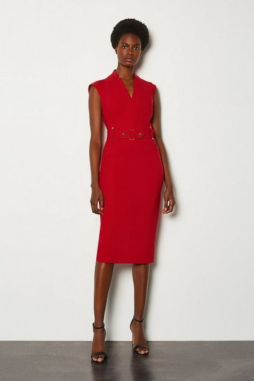 Red Forever Cinch Waist Cap Sleeve Pencil Dress