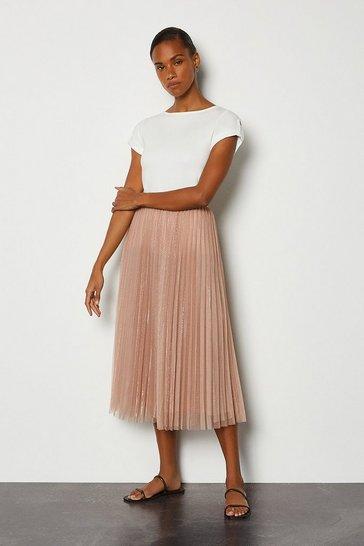 Beige Tulle Pleated Midi Skirt