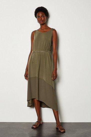 Khaki Jersey Maxi Dress