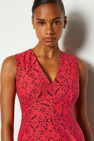 Red V-Neck Shift Dress
