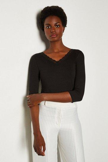 Black Viscose Jersey Lace Trim T-Shirt