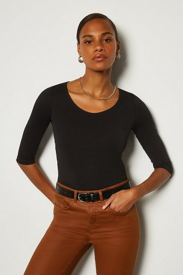 Black Cotton Jersey 3/4 Sleeve Scoop Neck T-Shirt