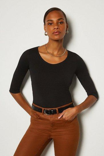 Black Cotton 3/4 Sleeve Scoop Neck T-Shirt