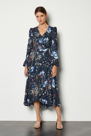 Floral Dark Meadow Print Long Dress