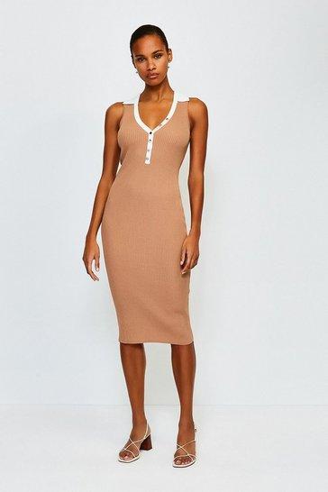 Cream Rib Knitted Collar Dress