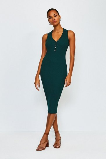 Dark green Rib Knitted Collar Dress
