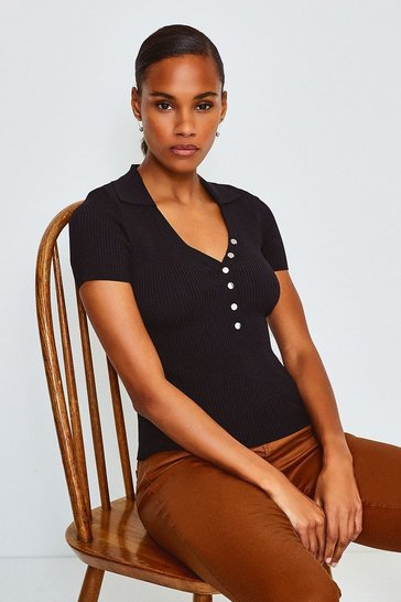 Black Rib Knitted Collar Top