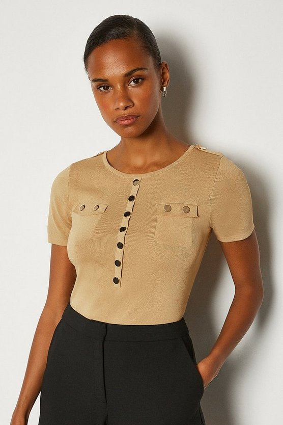 Camel Gold Button Short Sleeve Knitted Top