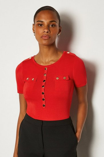 Red Gold Button Short Sleeve Knitted Top